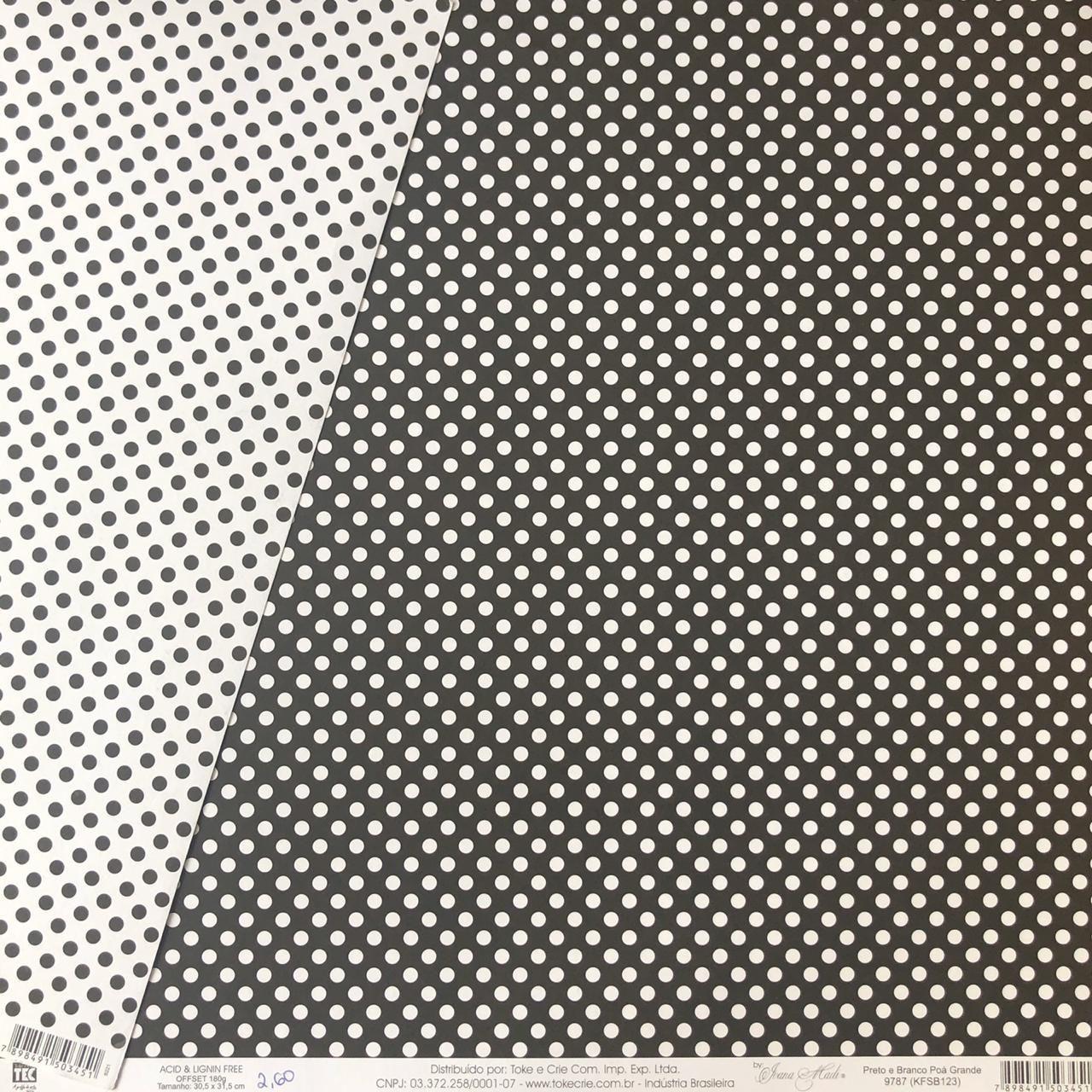 Papel Scrap - Preto e Branco Poá (KFSB123) - Toke e Crie (9787)