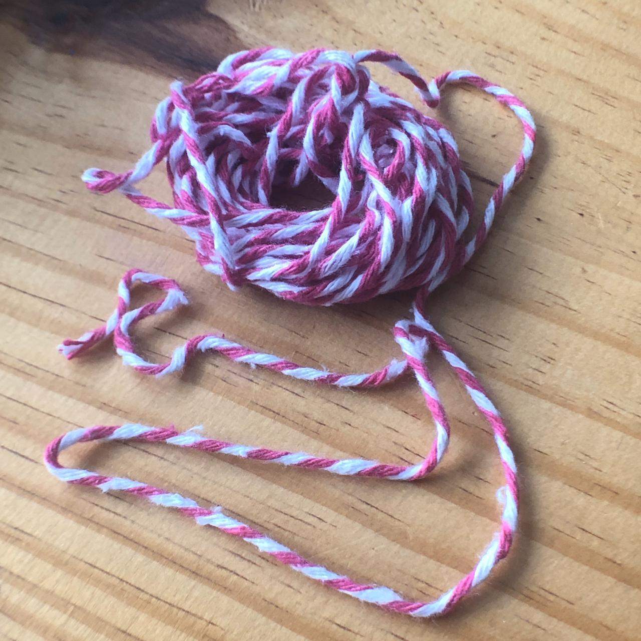 Barbante Bake Twine - Rosa com Branco (BBT005)