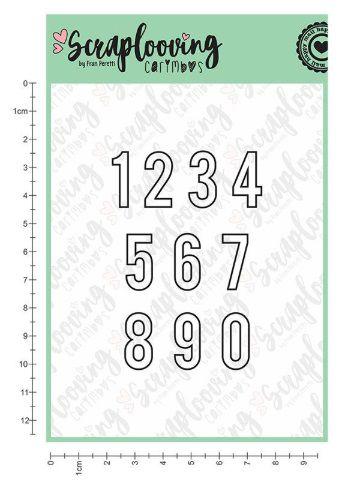 Carimbo Números Contorno 2 cm - Scraplooving (C177)