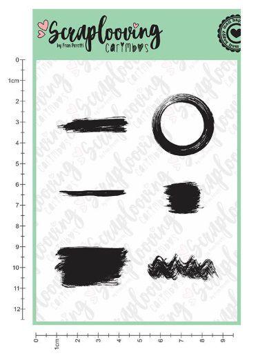 C195 - Carimbo Textura Pinceladas - Scraplooving