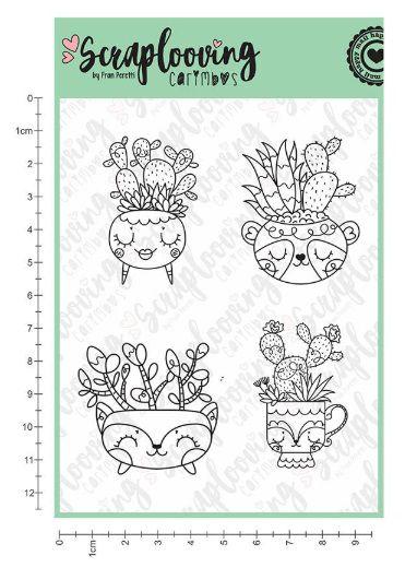 Carimbo Vasinhos Raposinhas com Cactus - Scraplooving (C207)
