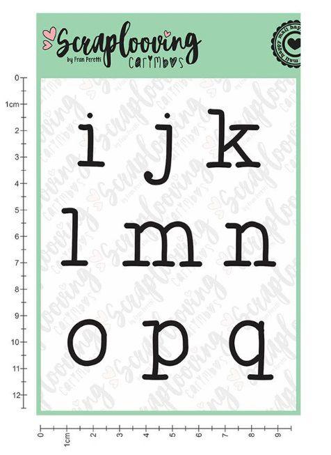 Carimbo Cartelas Alfabeto Grande - Máquina de Escrever - Minúscula - Scraplooving (C237)