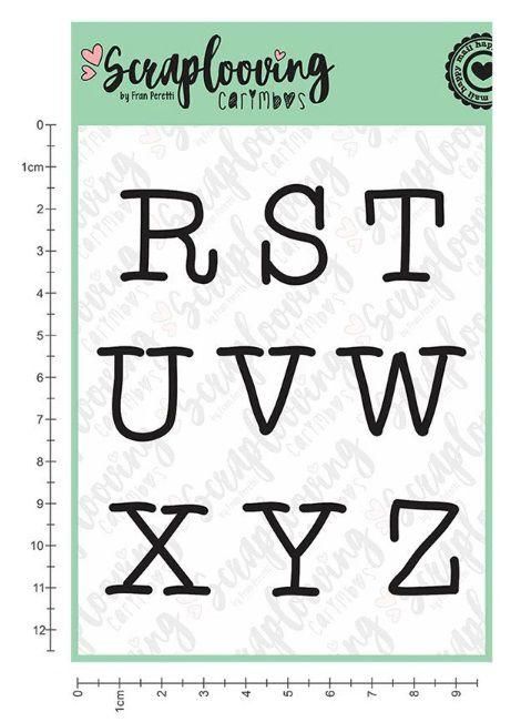 Carimbo Cartelas Alfabeto Grande - Máquina de Escrever - Maiúscula - Scraplooving (C238)