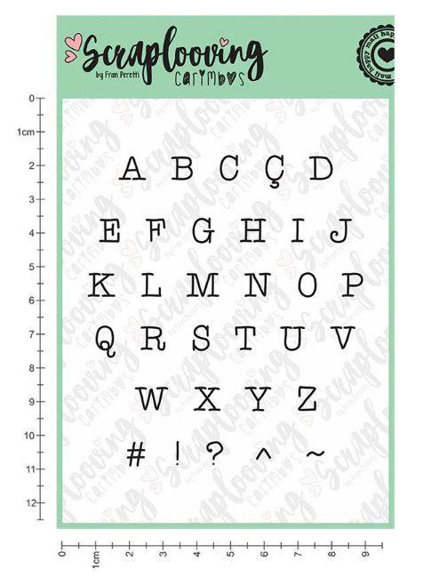 Carimbo Cartela Alfabeto Pequeno Maiúsculo - Máquina de Escrever - Scraplooving (C251)