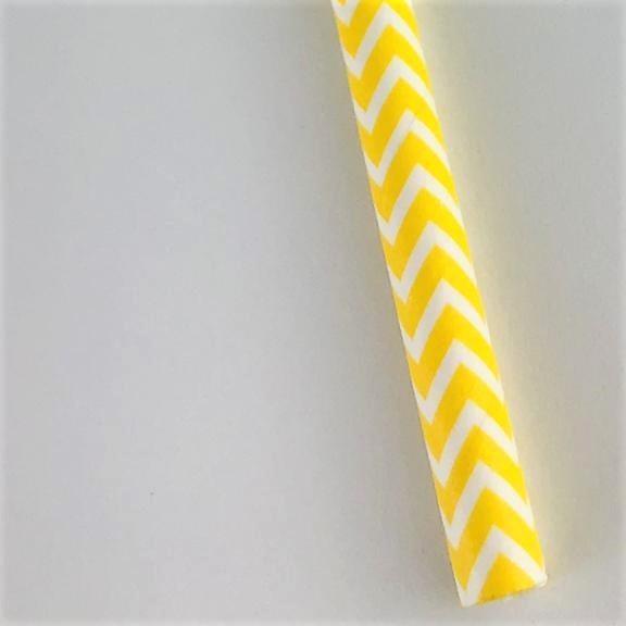 Canudo de papel - Chevron amarelo (CP-09)