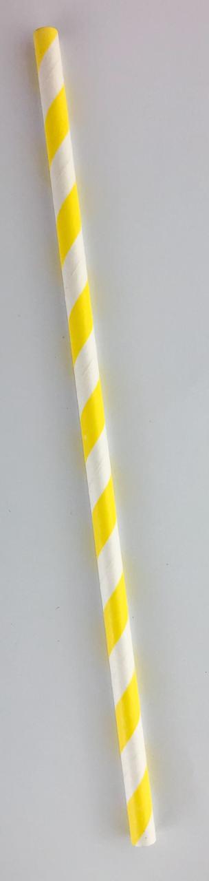 Canudo de papel - Listras amarelas com branco (CP-07)