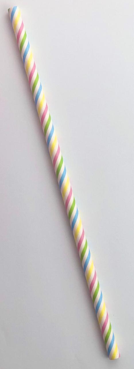 Canudo de papel - Listras coloridas (CP-05)