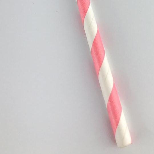 Canudo de papel - Listras rosa com branco (CP-06)
