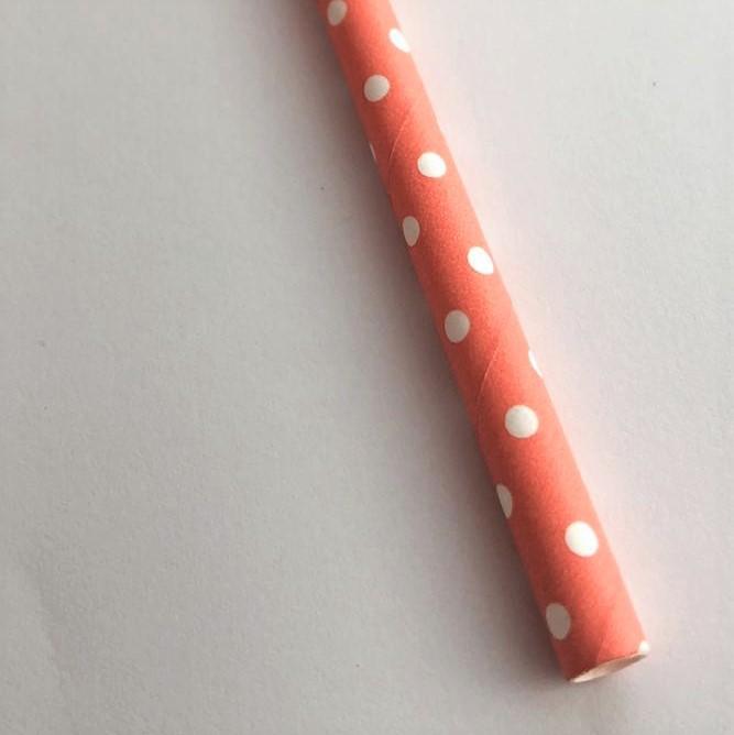 Canudo de papel - Poá branco com laranja (CP-10)