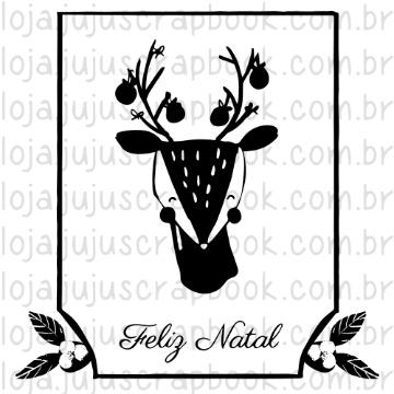 Carimbo Bambi Feliz Natal - Noite Feliz - Juju Scrapbook (CJJ001)