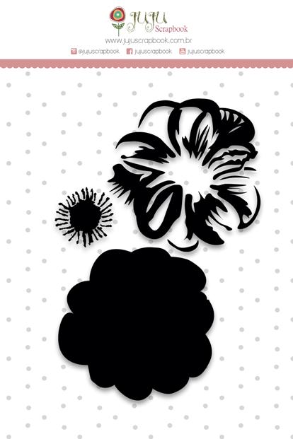 Carimbo XG Camadas Flor - Colecao Shabby Dreams - JuJu Scrapbook (8173)