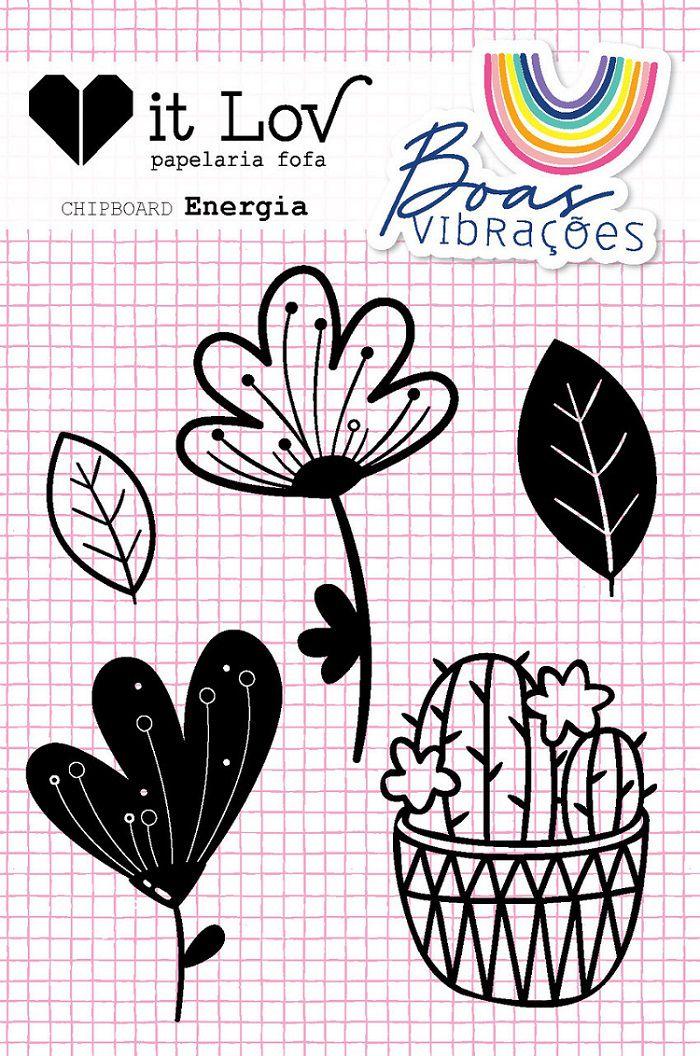 Cartela Chipboard Energia - Coleção Boas Vibrações - It Lov (CIL002)
