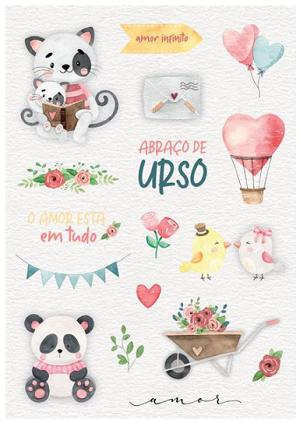 Cartela de adesivo Amor infinito - Coleção Abraço de urso - Juju Scrapbook (8495)