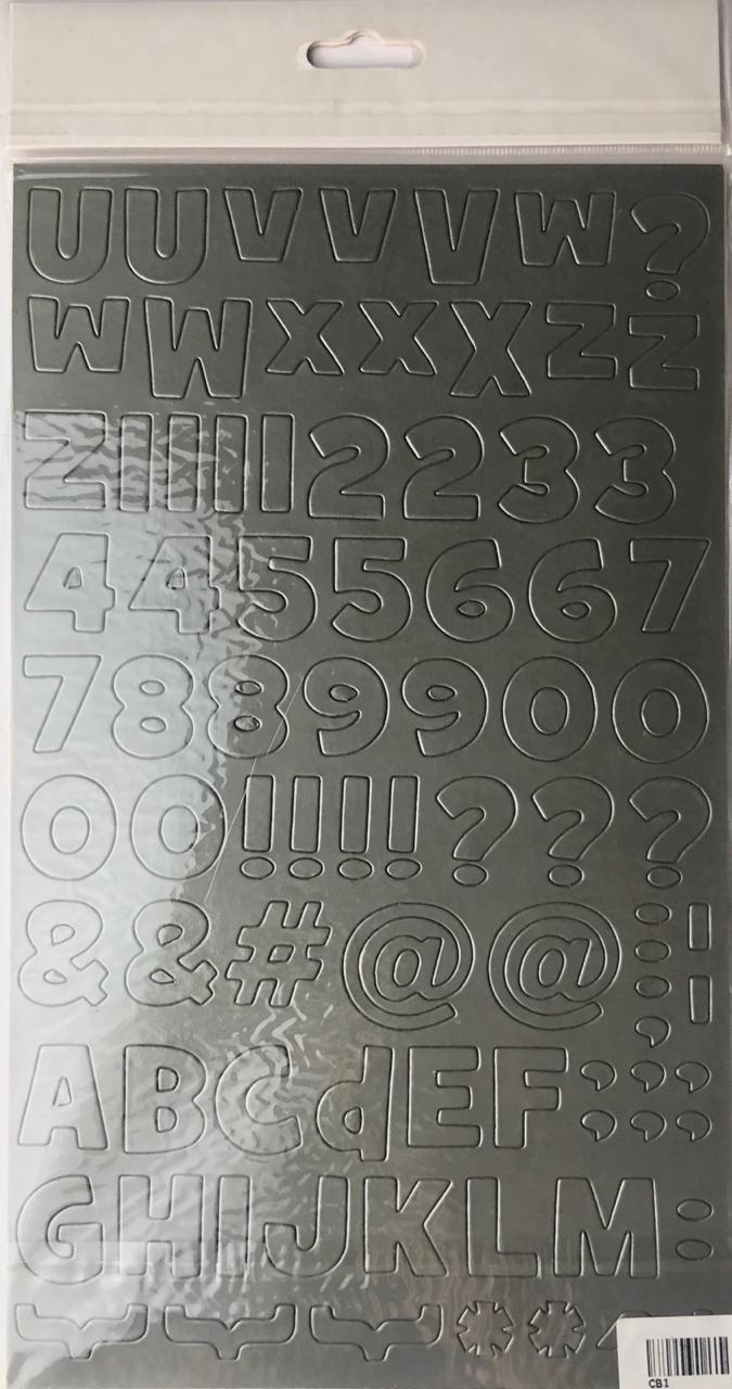 Alfabeto chipboard adesivo - cinza - Art e Montagem (CB1-2)