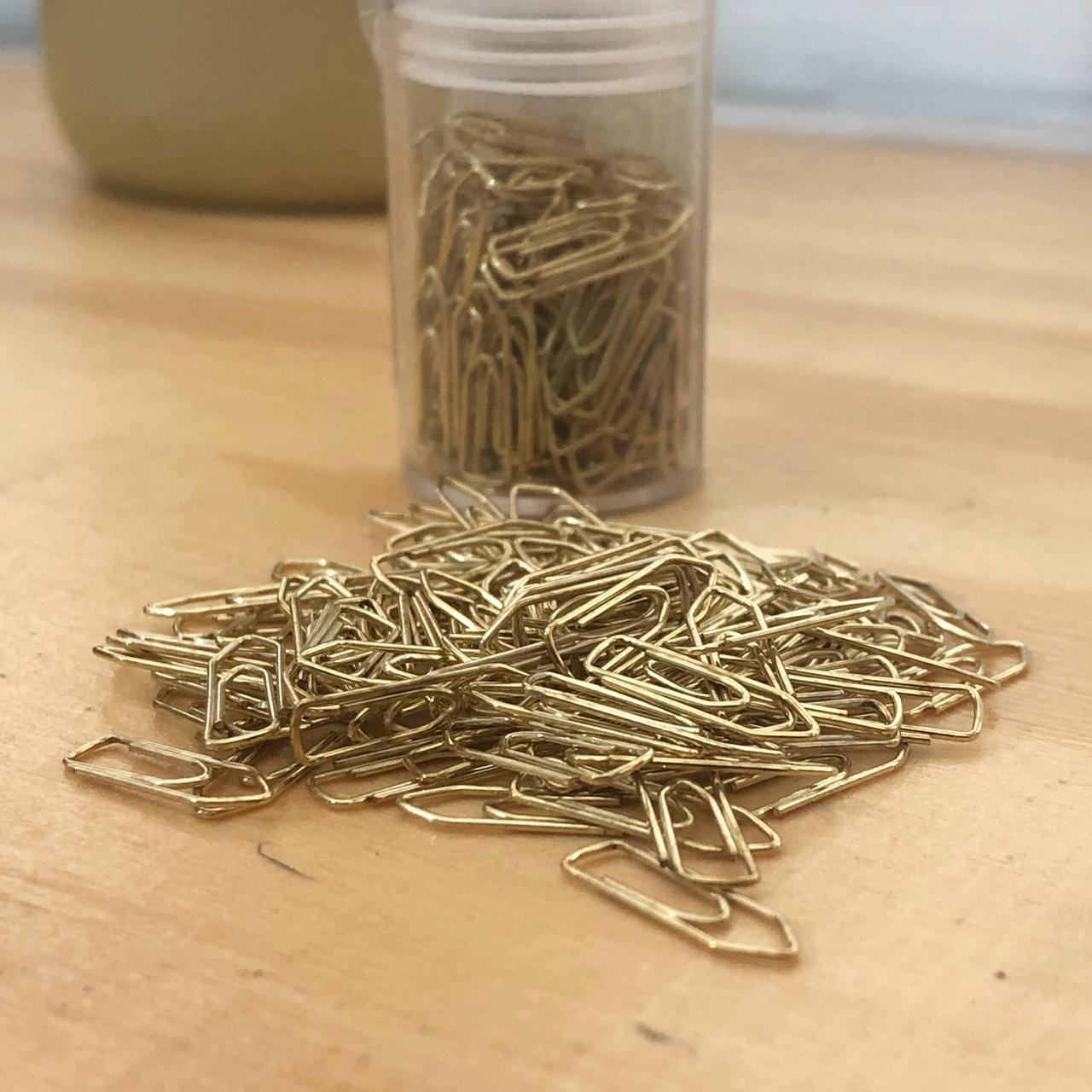 Clips Mini n°5 Arame Dourado com 100 unidades
