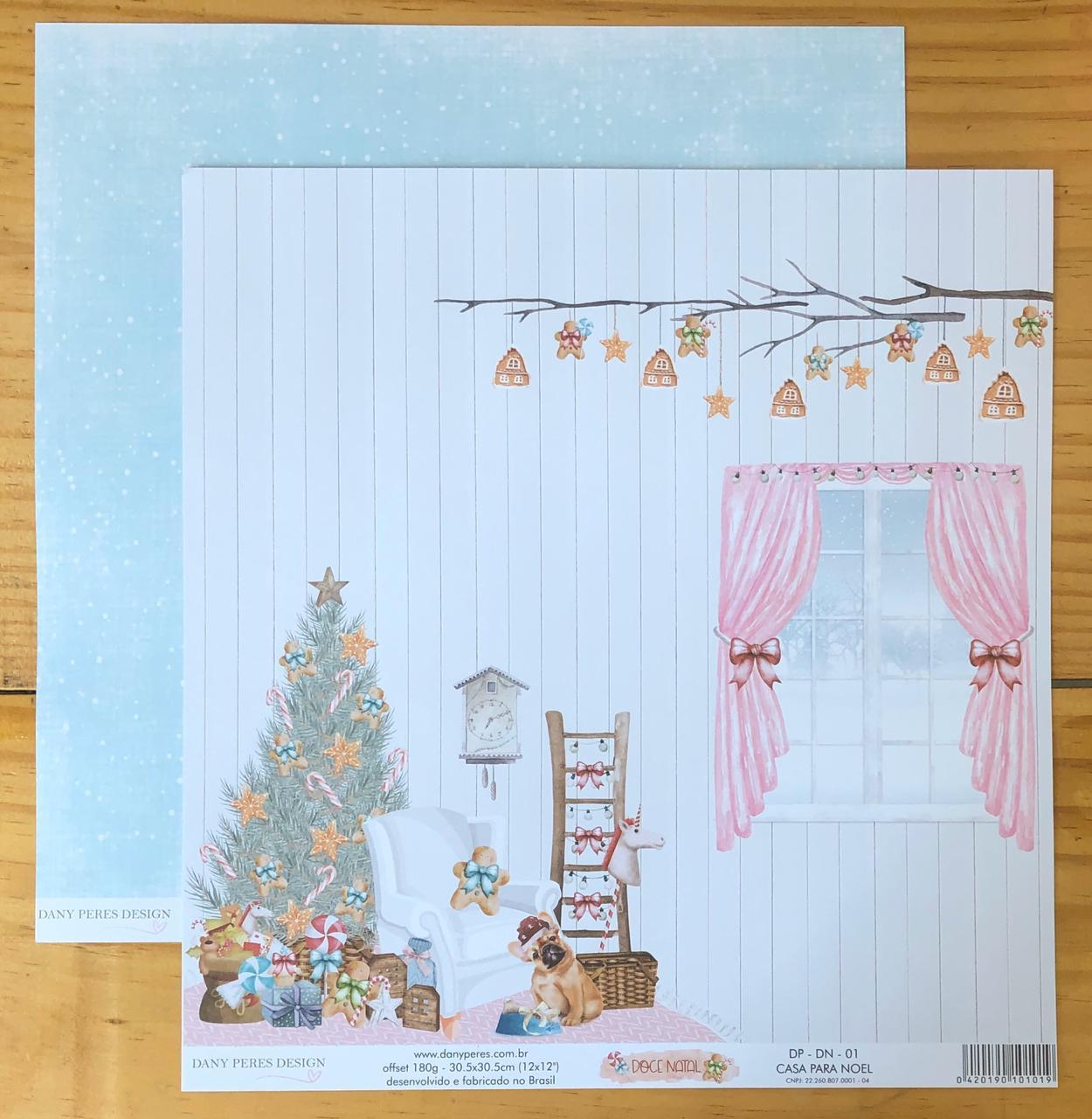 Papel Scrap - Casa para Noel - Coleção Doce Natal - Dany Peres (DP-DN-01)