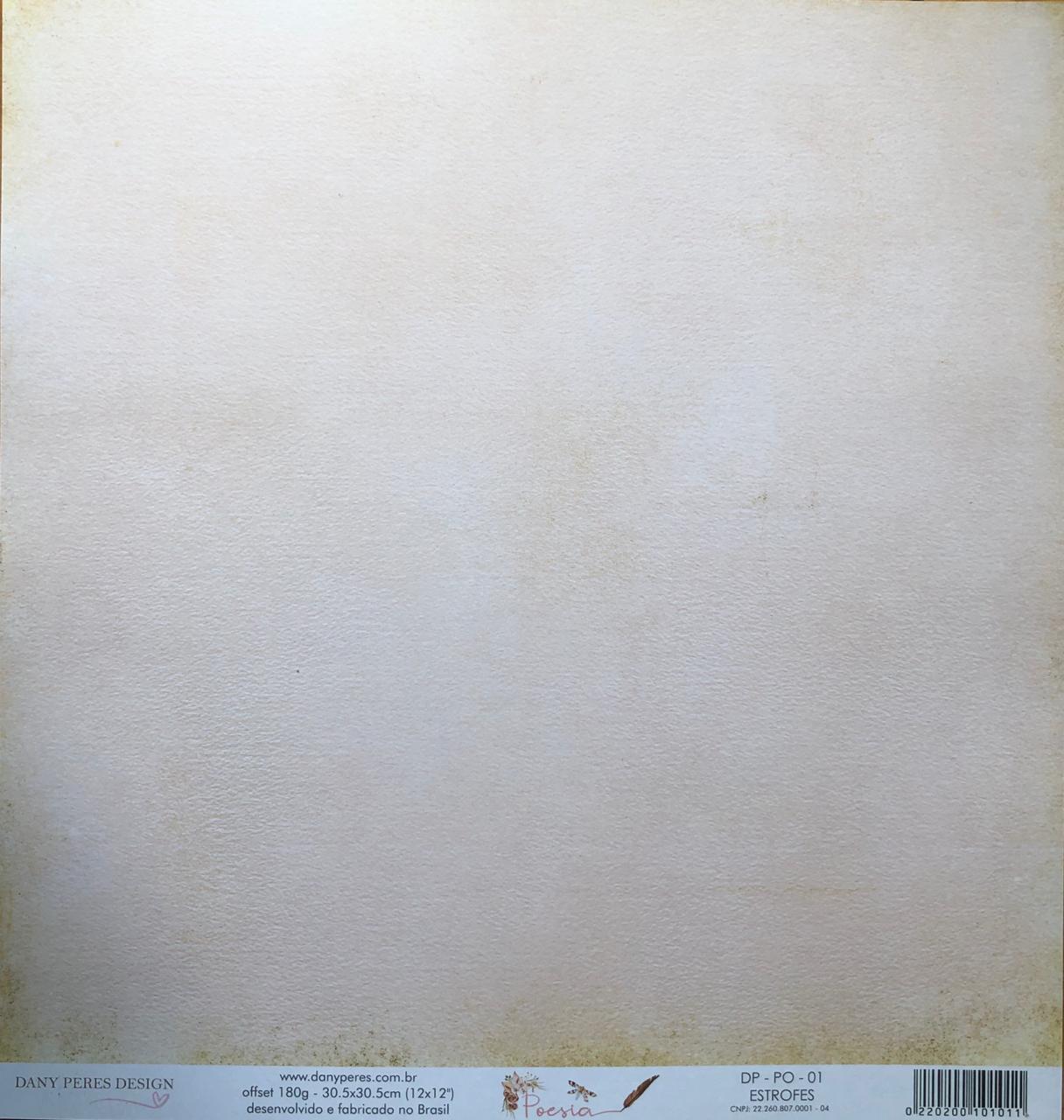 Papel Scrap - Estrofes - Coleção Poesia - Dany Peres (DP-PO-01)