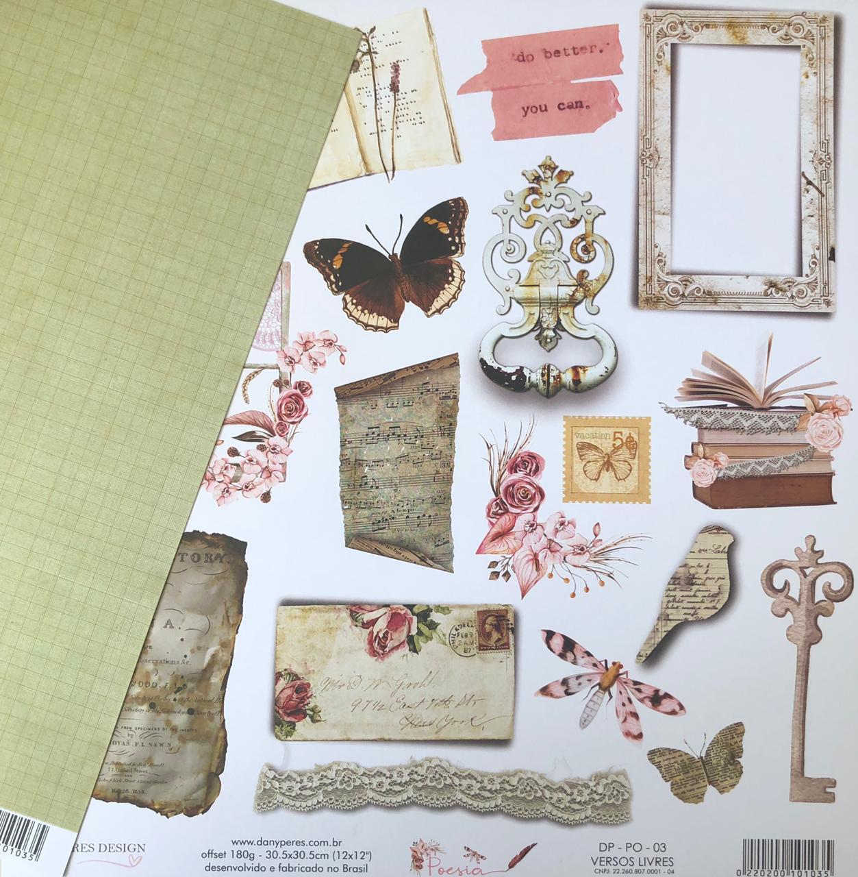 Papel Scrap - Versos Livres - Coleção Poesia - Dany Peres (DP-PO-03)