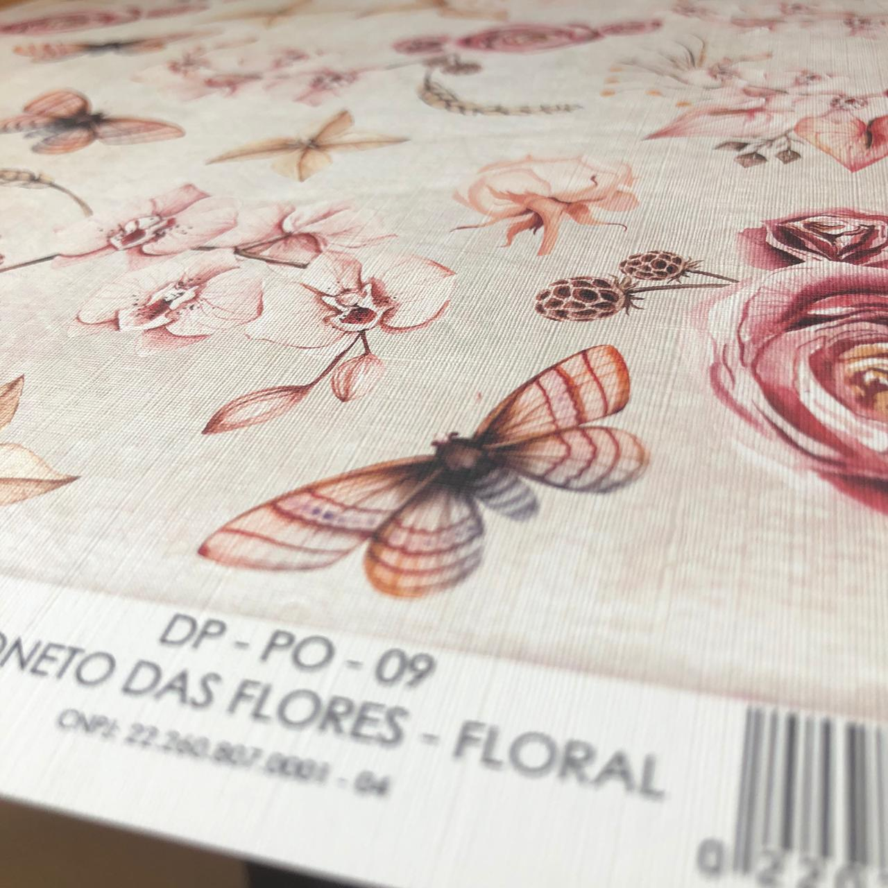Adesivo Texturizado - Soneto das Flores Floral - Coleção Poesia - Dany Peres (DP-PO-09)