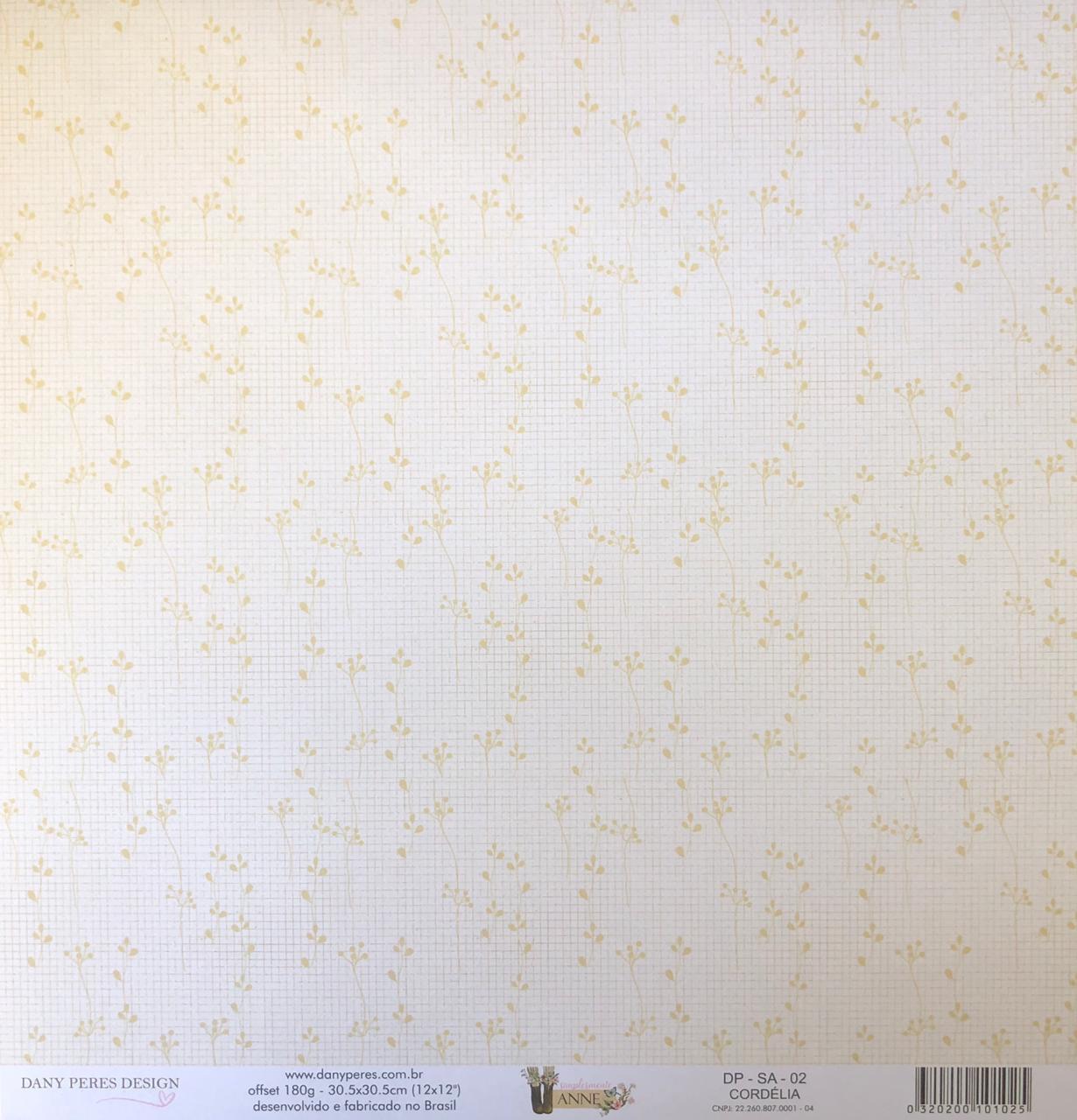 Papel Scrap - Cordélia - Coleção Simplesmente Anne - Dany Peres (DP-SA-02)