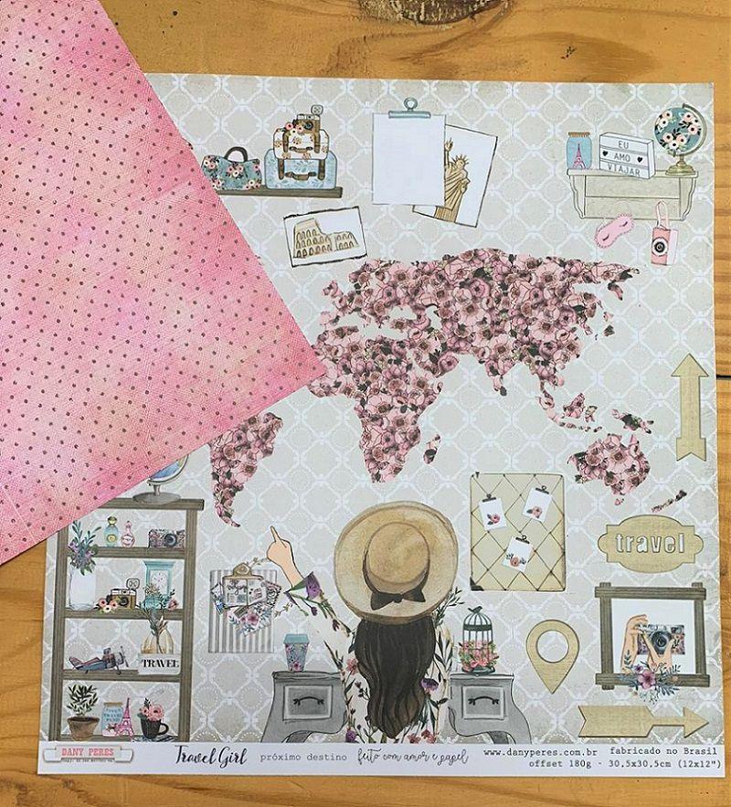 Papel Scrap - Próximo Destino - Coleção Travel Girl - Dany Peres (DP-TG-01)