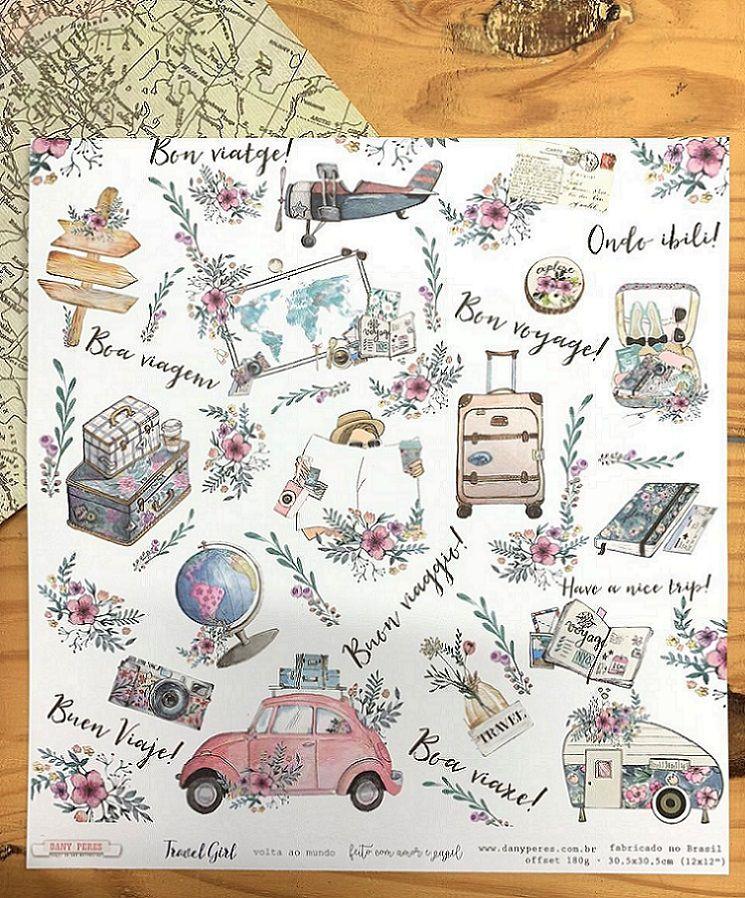 Papel Scrap - Volta ao Mundo - Coleção Travel Girl - Dany Peres (DP-TG-02)