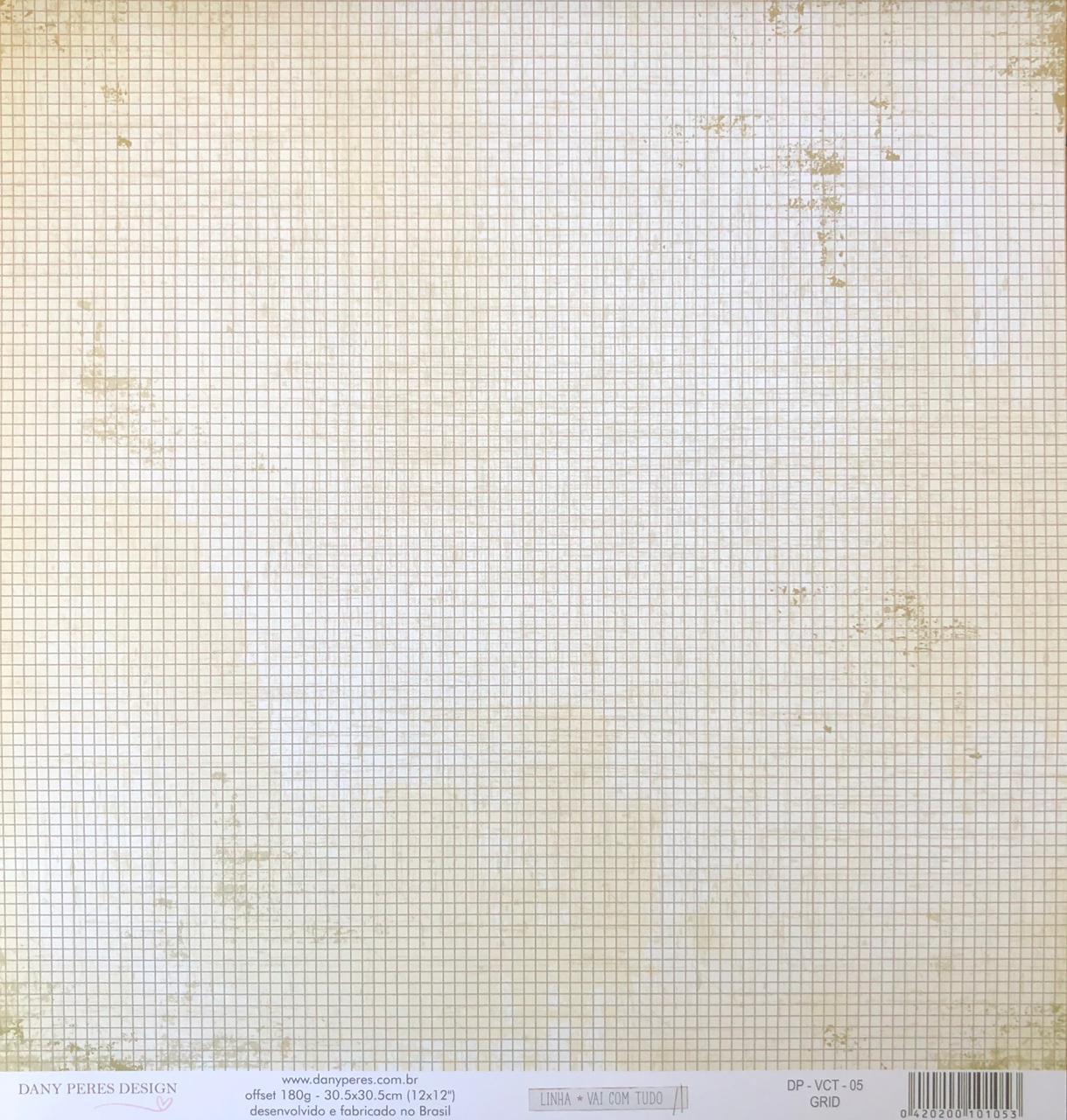 Papel Scrap - Grid - Coleção Vai Com Tudo - Dany Peres (DP-VCT-05)