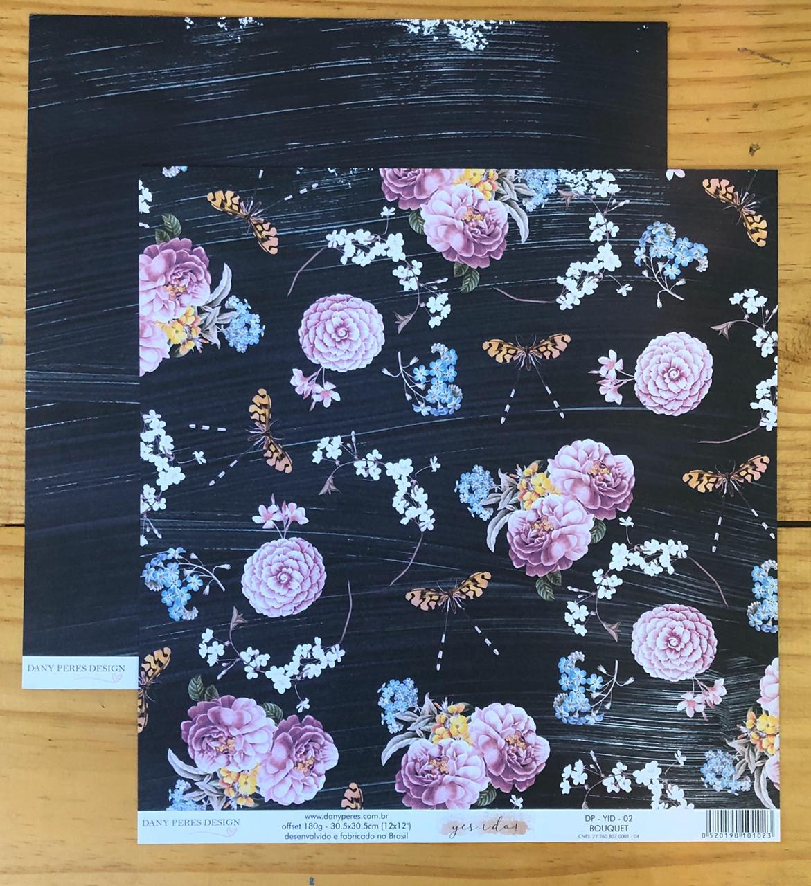 DP-YID-02 - Papel Scrap - Bouquet - Coleção Yes I Do - Dany Peres