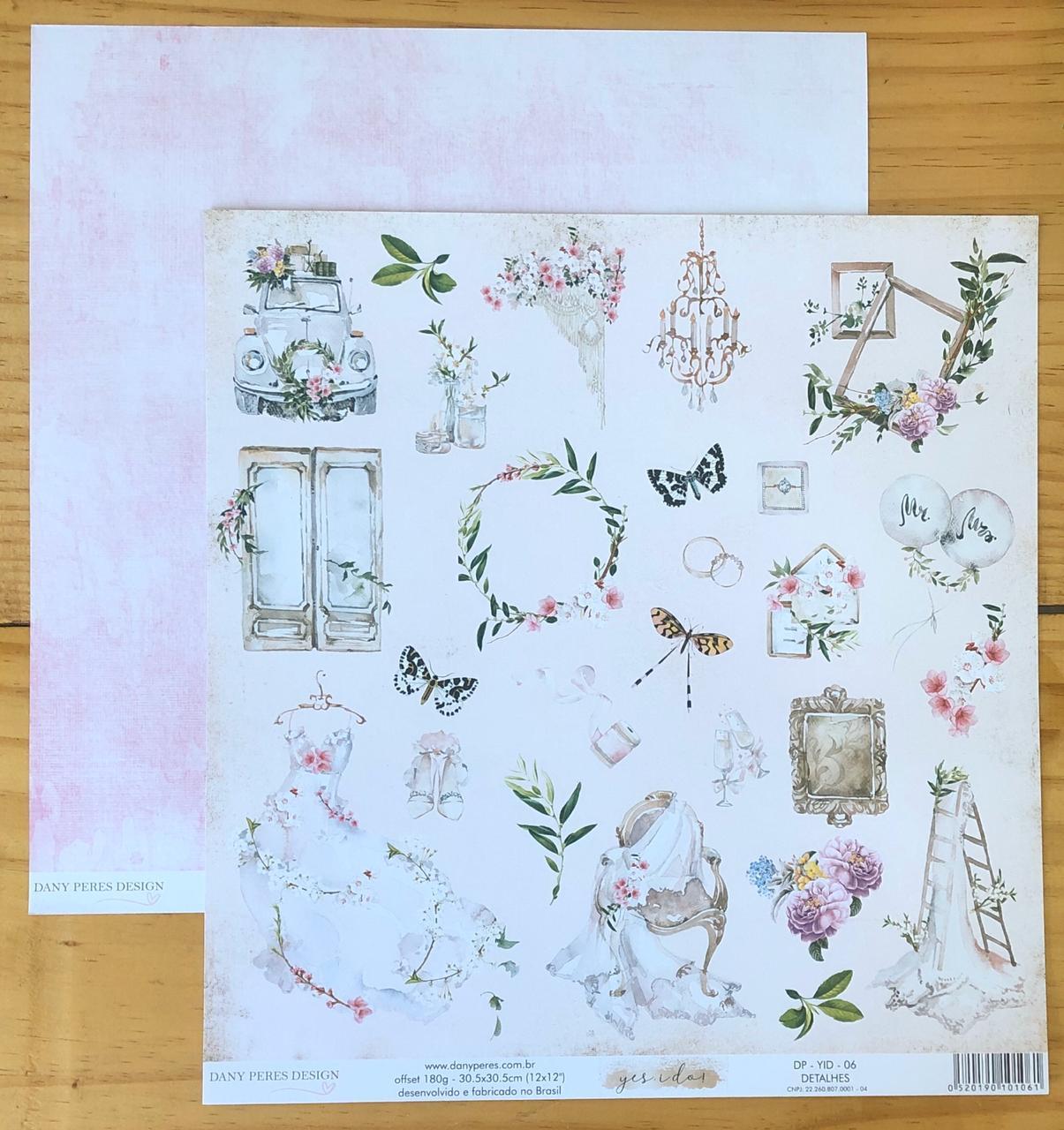 DP-YID-06 - Papel Scrap - Detalhes - Coleção Yes I Do - Dany Peres
