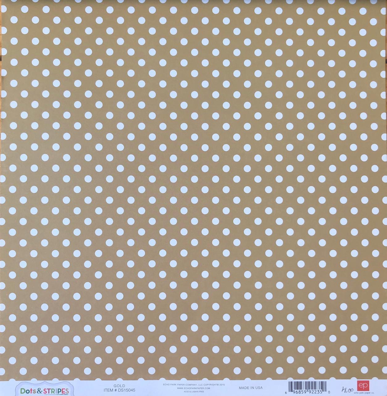 Papel Scrap - Dots & Stripes - Gold - Echo Park (DS15045)
