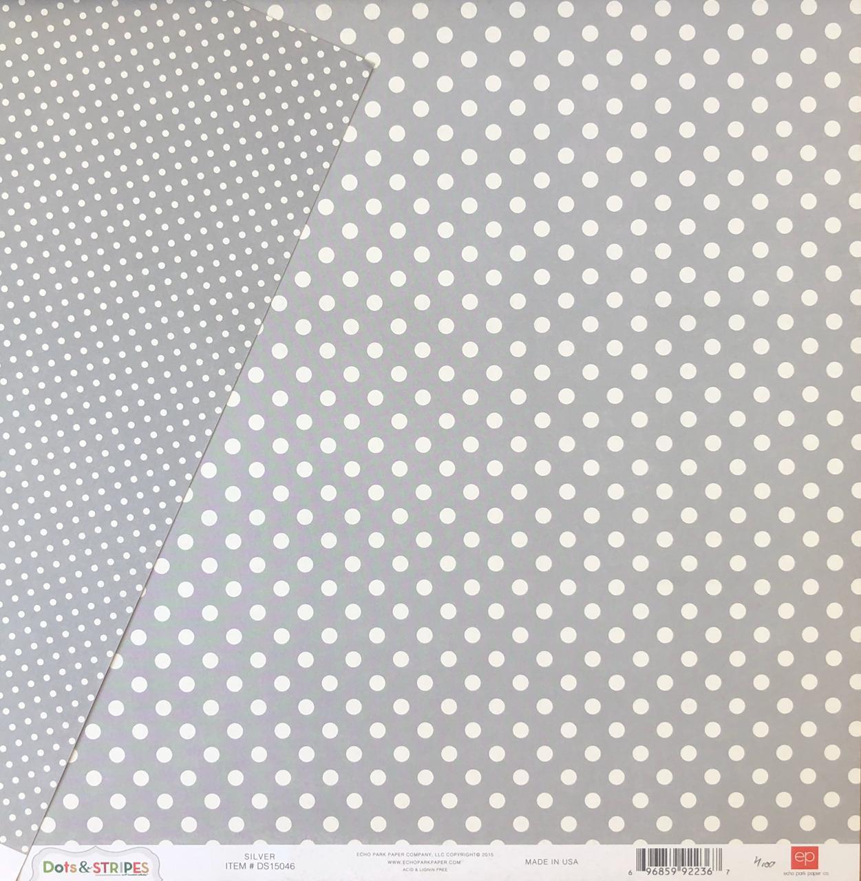 Papel Scrap - Dots & Stripes - Silver (Cinza com Branco) - Echo Park (DS15046)
