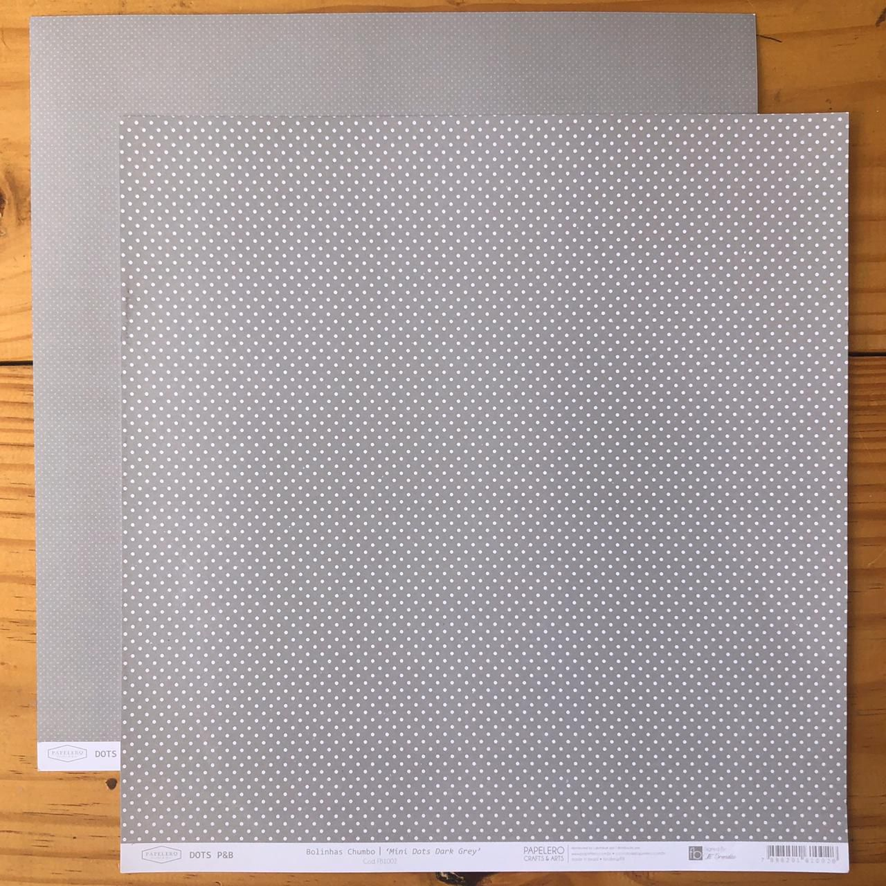 Papel Scrap - Bolinhas Chumbo - Coleção Dots P&B - Papelero (FB1002)