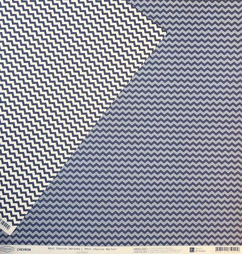 Papel Scrap - Mini Chevron Marinho - Coleção Chevron - Papelero (FB1042)