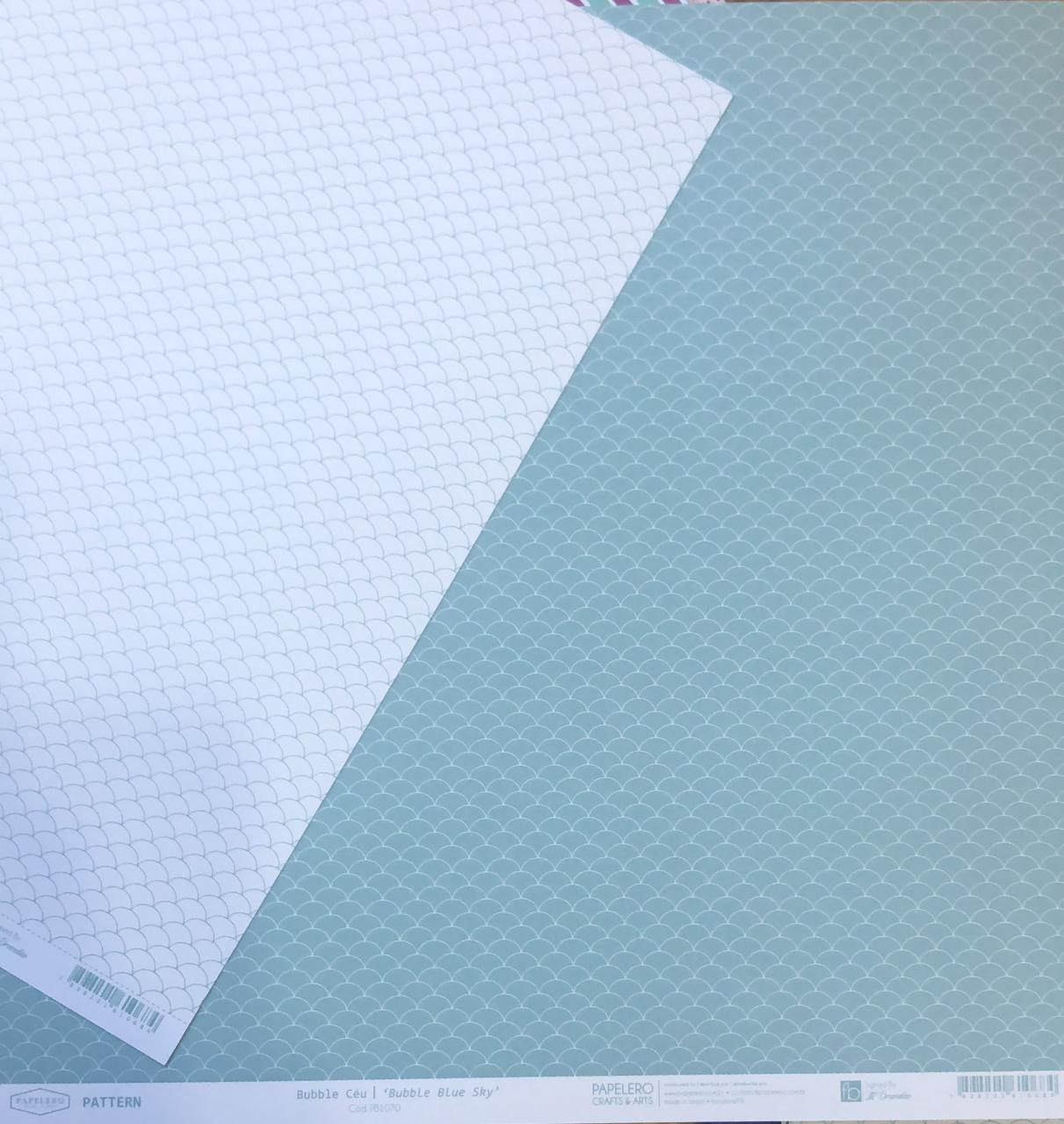 Papel Scrap - Bubble Céu - Coleção Pattern - Papelero (FB1070)