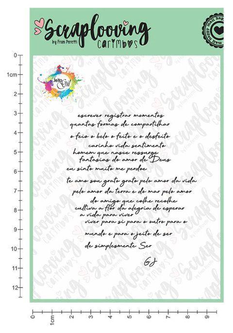Carimbo Cartela Jeito Gil Poema - Scraplooving (GIL16)