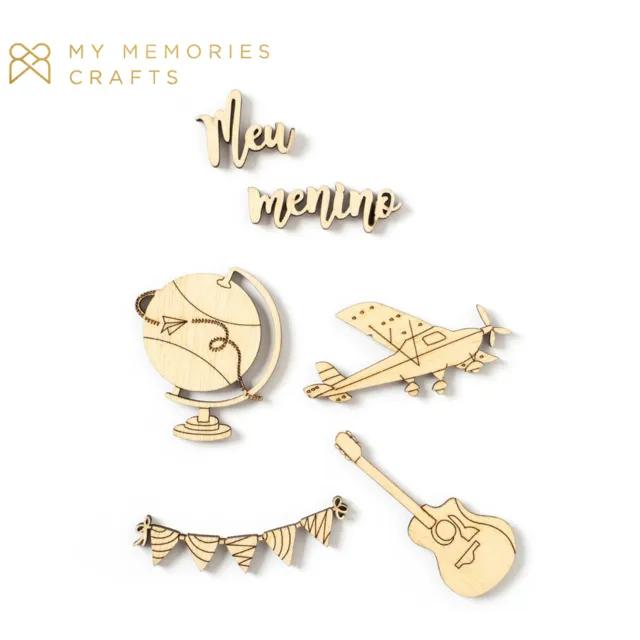 Kit de Madeirinhas Adesivadas - Meu Menino - Coleção My Boys - My Memories Crafts (MMCMBO-09)