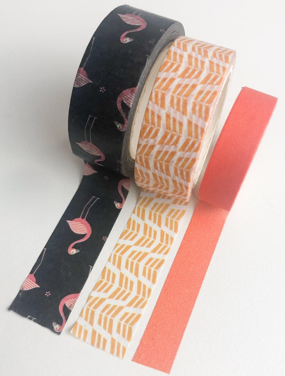 Kit Washi Tapes Flamingos Laranja (washi32)
