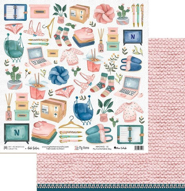 Papel Scrap - My Confortable Day - Coleção My Home - My Memories Crafts (MMCMHO-01)
