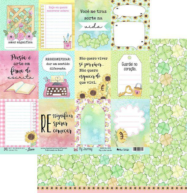 MMCMJ-09 - Papel Scrap - My Cute Cards - Coleção My Journey - My Memories Crafts