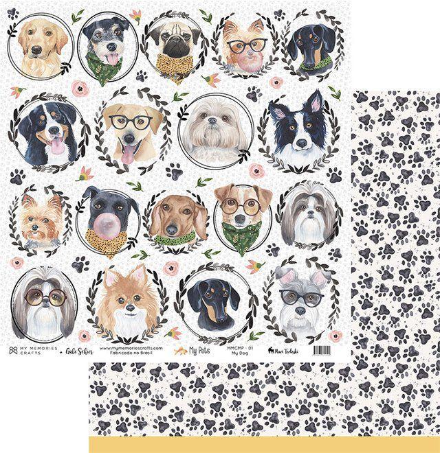 Papel Scrap - My Dog - Coleção My Pets - My Memories Crafts (MMCMP-01)