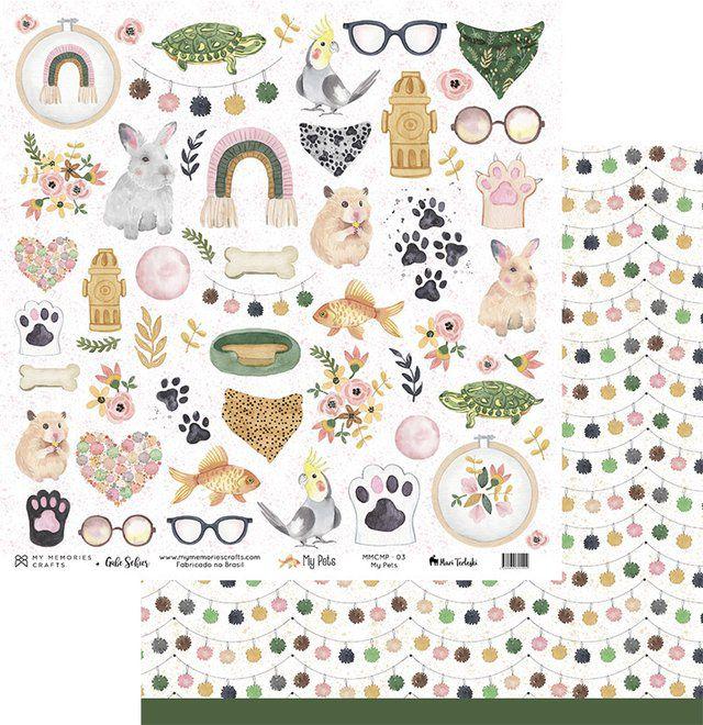 Papel Scrap - My Pets - Coleção My Pets - My Memories Crafts (MMCMP-03)