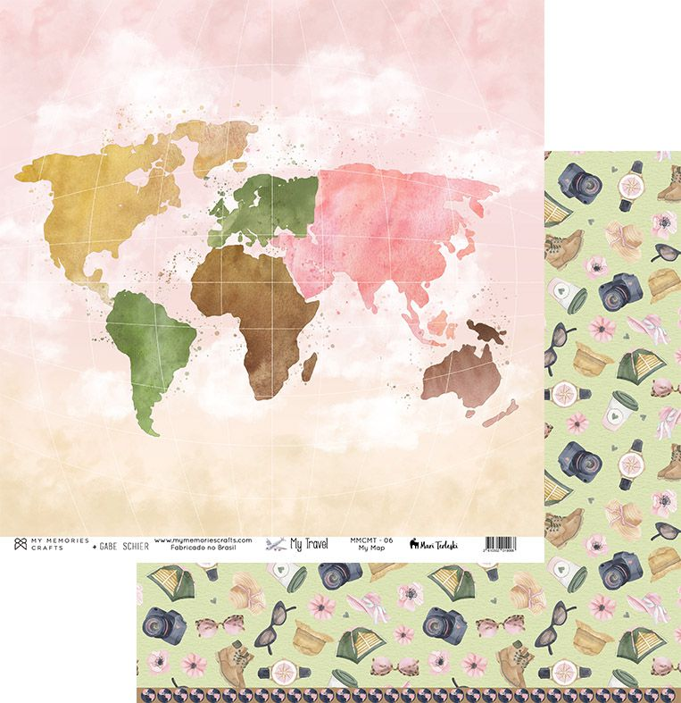 MMCMT-06 - Papel Scrap - My Map - Coleção My Travel - My Memories Crafts