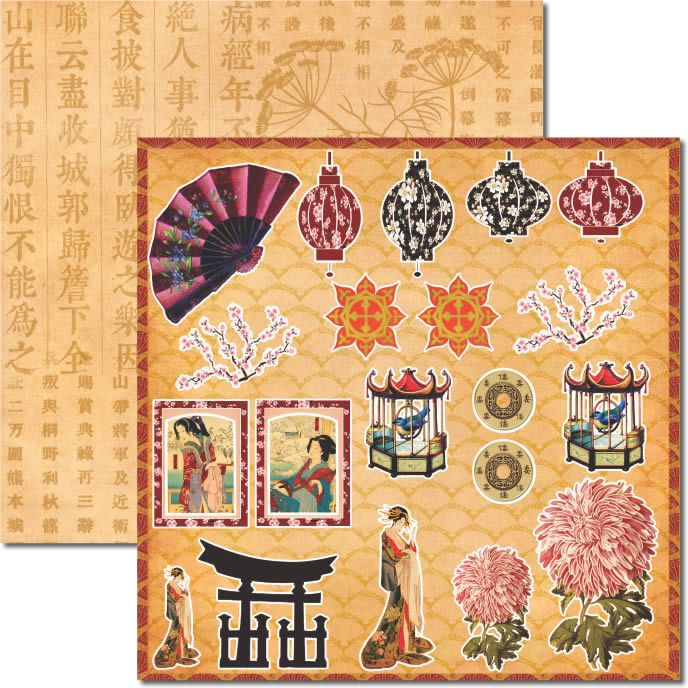 Bloco de Papéis Coordenados - Mini Scrap 15 x 15 - Oriental - Arte Fácil (MS-013)