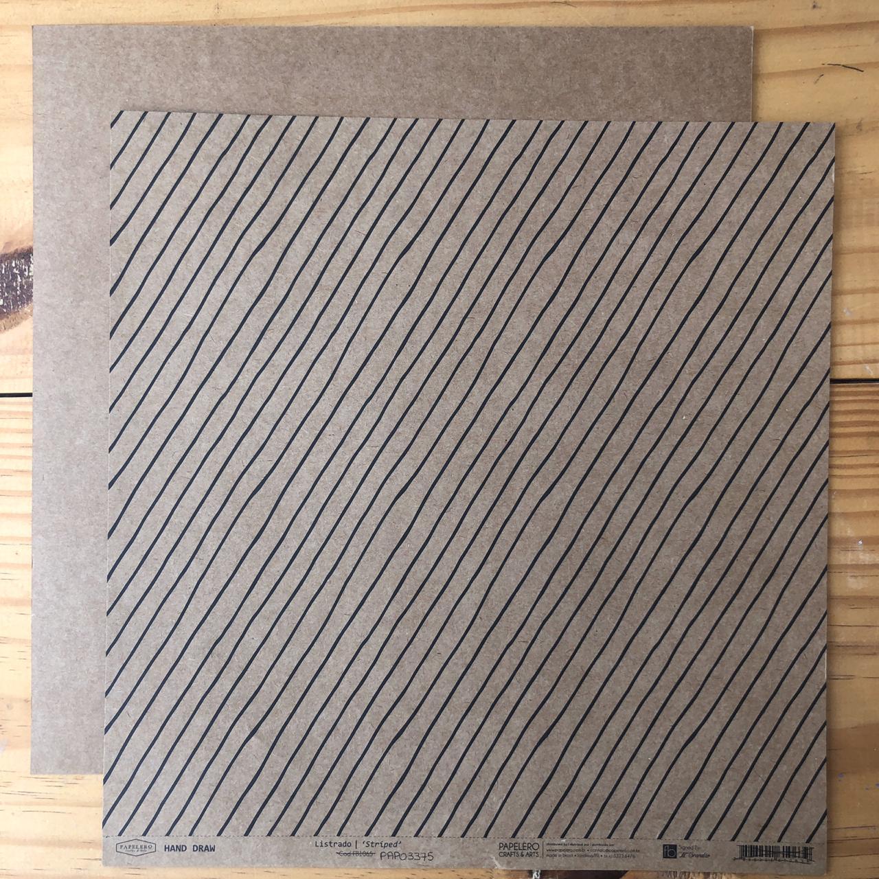 Papel Scrap - Listrado Kraft - Coleção Hand Draw - Papelero (PAP03375)