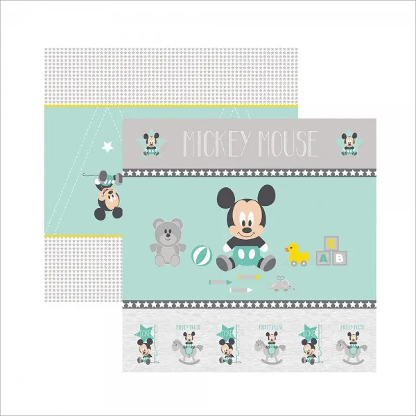 Papel Scrap - Baby Mickey 1 Cenário e Bandeirolas - Disney - Toke e Crie (19326)