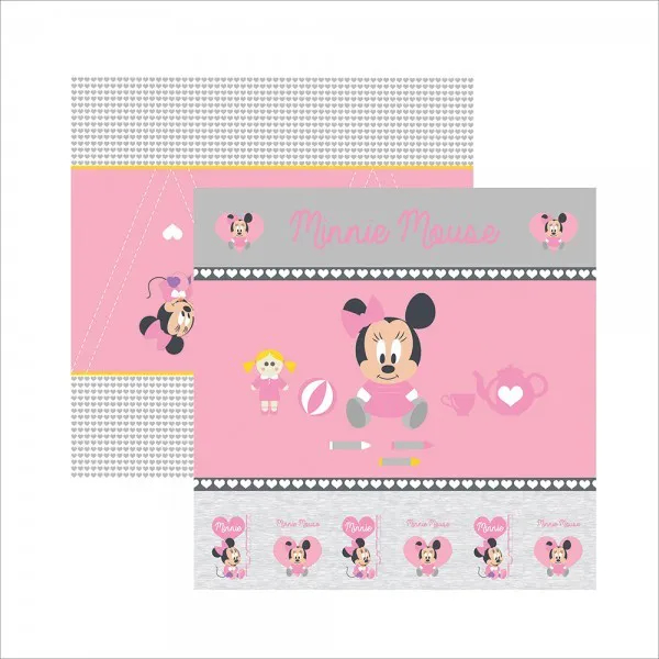 Papel Scrap - Baby Minnie 1 Cenário e Bandeirolas - Disney - Toke e Crie (19316)