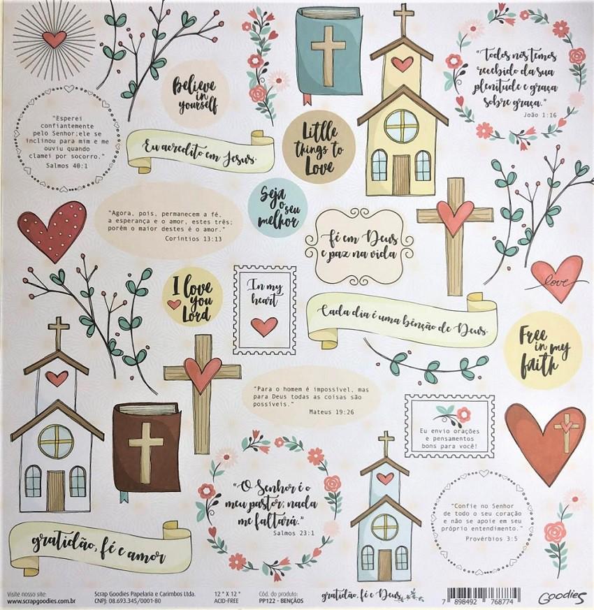 Papel Scrap - Bençãos - Coleção Gratidão, fé e Deus - Goodies (PP122)