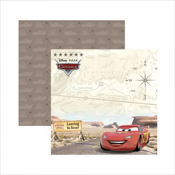 Papel Scrap - Carros 2 Paisagem - Disney/Pixar - Toke e Crie (19675)