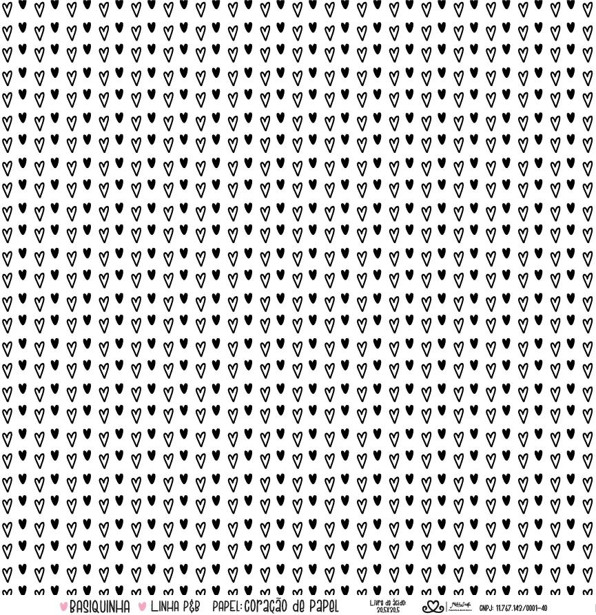 Papel Scrap - Coração de Papel - Coleção Basiquinha - Ateliê Craft (29122)