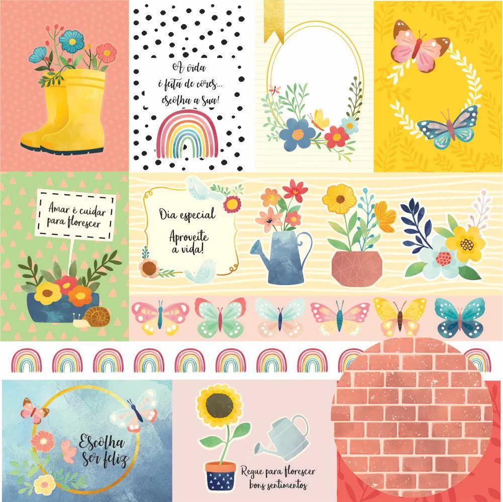 Papel Scrap - Regando Flores - Coleção Regando Flores - Oficina do Papel (0213100)